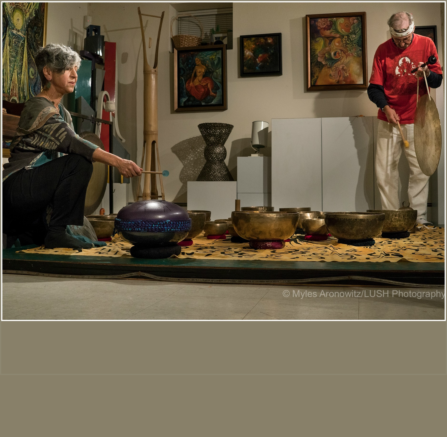 SoundBath graphic with Naaz Hosseini and Peter Blum